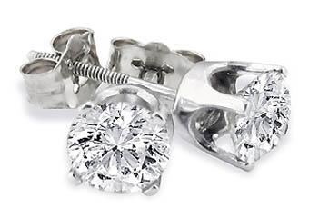 TheJewelryMaster 14k White Gold Brilliant Round Cut Diamond Stud Earrings 1 Carat