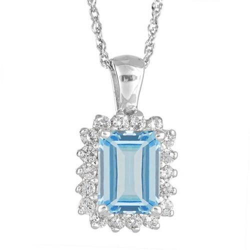 AQUAMARINE & DIAMOND HALO PENDANT WHITE GOLD EMERALD CUT 1 ...
