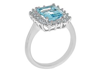 AQUAMARINE & DIAMOND HALO ENGAGEMENT RING EMERALD CUT ...