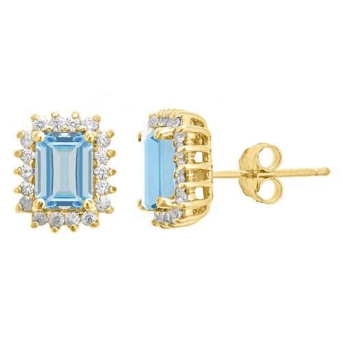 AQUAMARINE & DIAMOND HALO STUD EARRINGS EMERALD CUT 10 ...