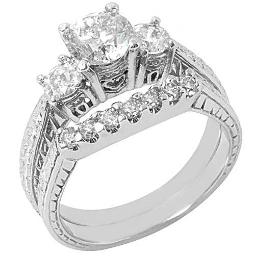Antique Round Diamond Engagement Rings Bridal Set 14k