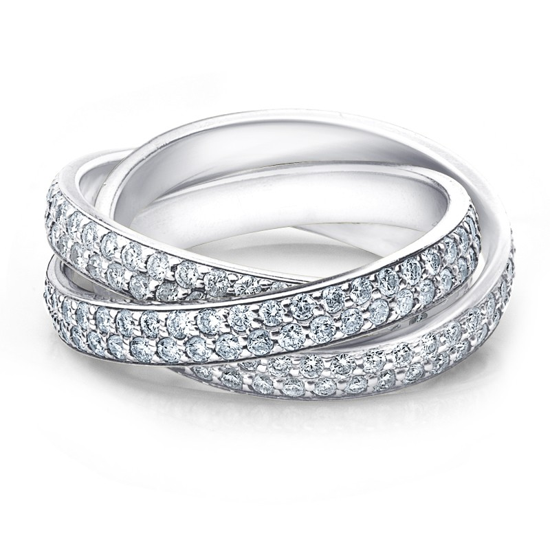 DIAMOND ROLLING ETERNITY BAND WEDDING RING WHITE GOLD 3