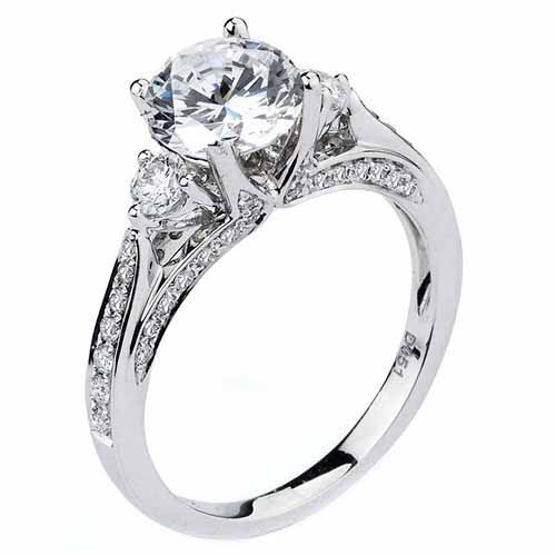 WOMENS DIAMOND ENGAGEMENT RING BRILLIANT ROUND CUT 1 53 CARAT 18K WHITE GOLD
