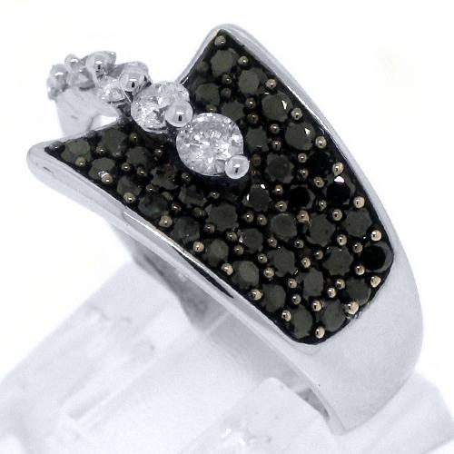 WOMENS BLACK DIAMOND RING WEDDING BAND RIGHT HAND 1 15 CARAT ROUND WHITE GOLD