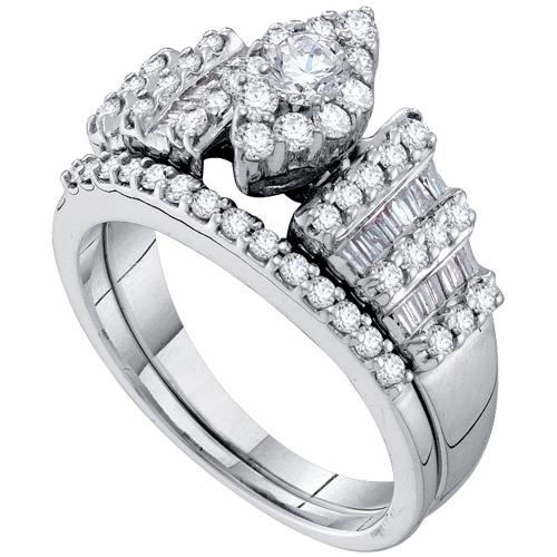 WOMENS DIAMOND ENGAGEMENT RING WEDDING BAND BRIDAL SET MARQUISE SHAPE ROUND C
