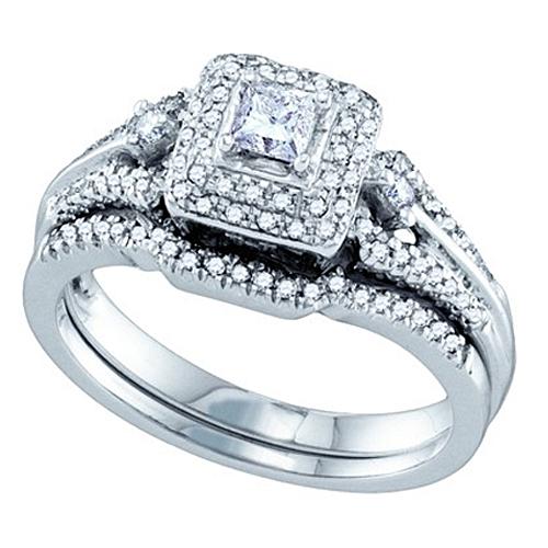 WOMENS DIAMOND ENGAGEMENT HALO RING WEDDING BAND BRIDAL SET PRINCESS SQUARE C