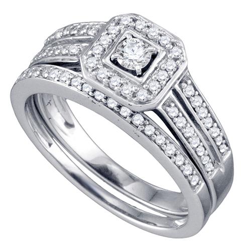 WOMENS DIAMOND ENGAGEMENT HALO RING WEDDING BAND BRIDAL SET BRILLIANT ROUND C
