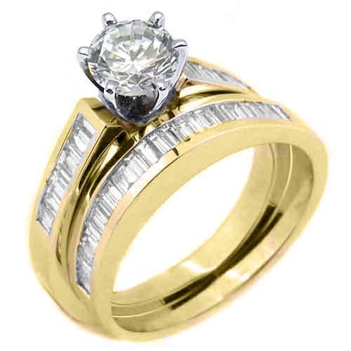 WOMEN DIAMOND ENGAGEMENT RING WEDDING BAND BRIDAL SET ROUND BAGUETTE YELLOW GOLD