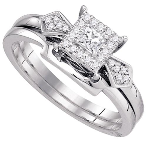 WOMENS DIAMOND PROMISE HALO RING WEDDING BAND BRIDAL SET PRINCESS CUT 1 4 CAR