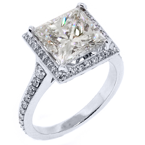 halo engagement ring princess square 5 carat 14kt