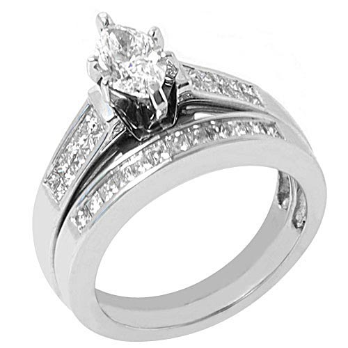 2CT LADIES MARQUISE DIAMOND ENGAGEMENT RING WEDDING BAND BRIDAL ...