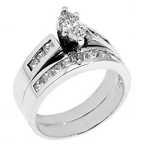 WOMENS PLATINUM MARQUISE CUT DIAMOND ENGAGEMENT RING WEDDING BAND BRIDAL SET