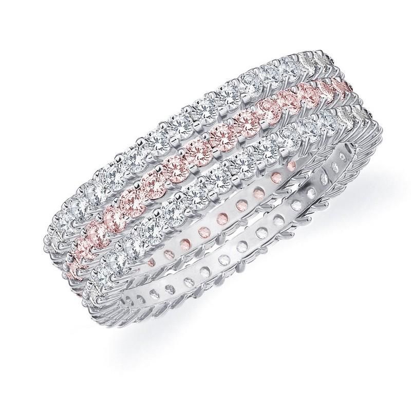 DIAMOND & PINK SAPPHIRE STACKABLE ETERNITY BAND WEDDING ...