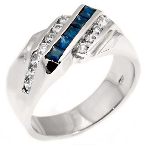 Mens 14kt White Gold Blue Sapphire Diamond Ring Wedding