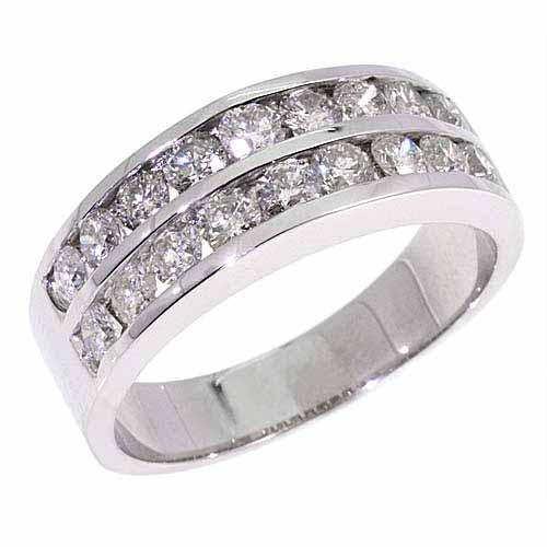 MENS 2 CARAT 2 ROW ROUND DIAMOND RING WEDDING BAND 14K