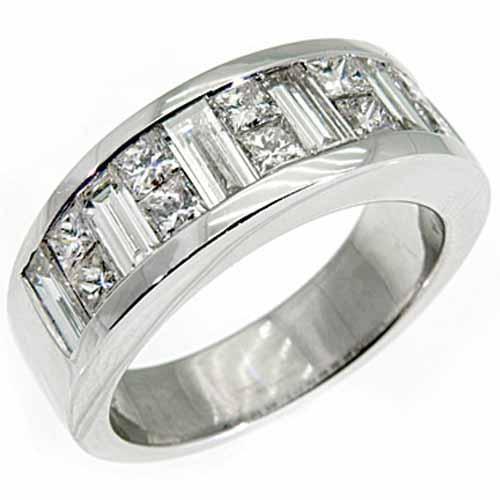 MENS 3 5 CARAT PRINCESS BAGUETTE CUT DIAMOND RING WEDDING BAND 18KT WHITE GOLD
