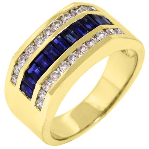 MENS 14KT YELLOW GOLD BLUE SAPPHIRE DIAMOND RING WEDDING BAND BAGUETTE CUT