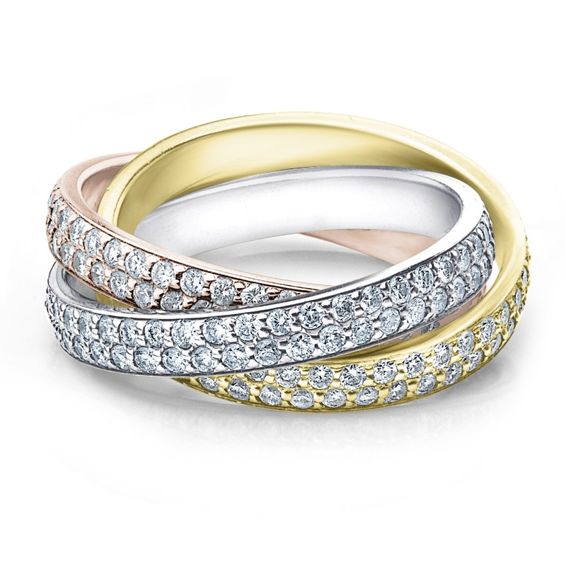 color gold qrtr wedding tri band braided three rings