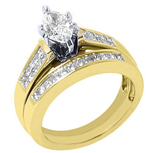 2.35 Ct Diamond His /& Her Wedding Ring Band Trio Bridal Set 14K Yellow Gold Over